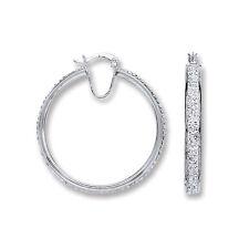 Orecchini a cerchio stile creolo argento sterling 37mm Placcato rodio CERCHI