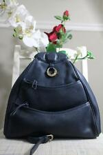 LANCEL PARIS Navy Blue Pebbled Leather Multi Pocket Backpack (pu210