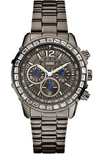 GUESS W0016L3,Women's Chronograph,Dark Tone,Genuine Crystal Accents,50 m WR