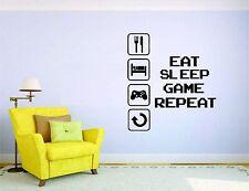 Gamer Wall Mural Sticker Decal Vinyl Decor Eat Sleep Repeat Video Game Player