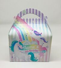Unicorns Watercolour Personalised Children Party Boxes Gift Favour 1ST CLASS POS