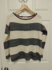 REWIND Womens Knit Crew Neck Sweater White Gray Stripe Size XS Soft