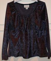 Vintage Laurentino Top Purple-Blue Boho Peasant Gypsy Velvet Stretch Long Sl 14