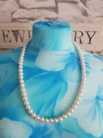 VINTAGE Faux Pearl Beaded Necklace Plastic Graduated Bust Length Retro Kitsch