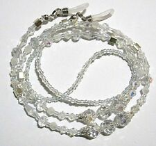 Silver Clear Crystal Sunglasses Glasses Spectacles Eyeglass Holder Cord Chain
