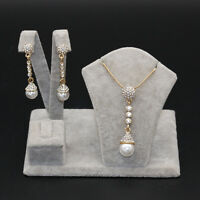 Noble Gold Plated Pearl Rhinestone Crystal Long Pendant Necklace + Earring Set