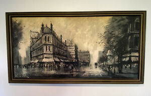 Vintage Lee Burr Print Parisian Promenade 131 x 70cm.
