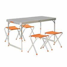 Campingmöbel-Set Camping-Tisch 4er Picknick-Set 120x60cm Klappbar Tragbar Koffer