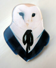 Owl Shirt Tie Quirky Kitsch Shabby Chic Retro Deco Pin Badge Brooch Acrylic