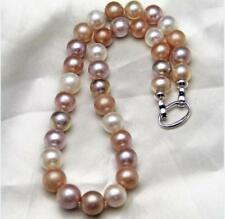"huge 18""12-14mm natural suth sea genuine white gold pink purple pearl necklace"