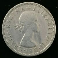 1957 Great Britain Two Shillings Coin Elizabeth II #ZS168