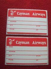 AIRLINE BAGGAGE STICKERS X 2 CAYMAN AIRWAYS 1980'S / 90'S VINTAGE