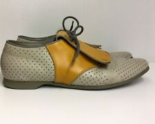 PRADA Brogue Golf Shoes Size 40 US 7.5 Perforated Leather Fringe Flap Lace Up