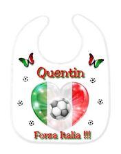 Bavoir bébé foot Italie personnalisé avec prénom