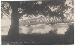 Latvia JELGAVA View from City Park on Railroad bridge RR Cancel RIGA-RITUPE 1930