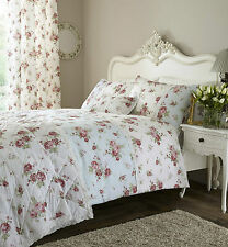 DOUBLE BED DUVET COVER SET WHITE DUCK EGG LACE FLORAL FLOWERS PINK GREEN CLASSIC