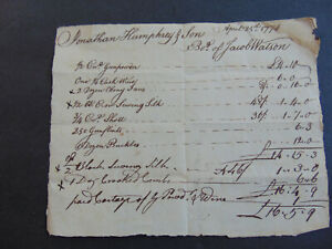 circa 1774 BOSTON COLONIAL REVOLUTIONARY WAR RECEIPT FOR GUNPOWDER & SHOT