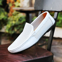 Casual Loafers Men's Hollow Out Slip On Driving Dress Shoes Leisure Real Leather