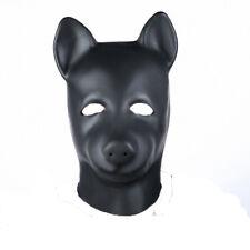 Bondage Unisex Latex Dog Mask with Zipper Closure and Eyes open Hood Restraints
