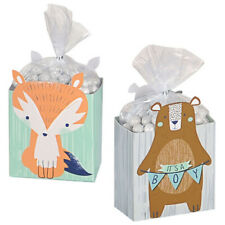Baby Shower Bear-ly Wait Favor Boxes (8) ~ Party Supplies Fox Bear Boy Paper