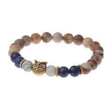 Natural Color Stone Gold Owl 8MM Beaded Bracelet 7.5'' Unisex Simple Charm New