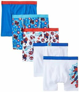 Marvel Spiderman Boys Boxer Briefs 5-Pack Sizes 4, 6, 8 100% Cotton