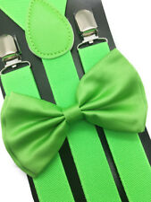 Neon Green Suspender + Clip on Bow-Tie Matching Set for Adults Men Women