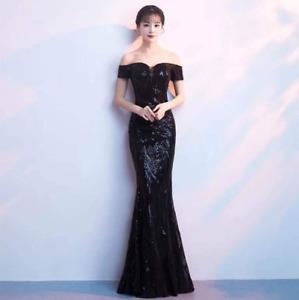 Womens Slim Fit Fishtail Banquet Evening Long Dress Sequins Wedding host Sexy SZ