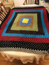 Vintage Afghan Blanket Crotchet Knit Throw Handmade Afghan, Sofa Throw 57� X 58�