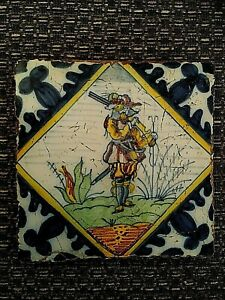Antique Delft polychrome ceramic tile depicting soldier/musketeer  21/490S