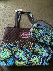Personalized Baby Newborn Infant Boys  Brown and Blue Paisley Diaper Bag