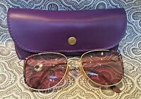 Vintage Mod 7090 Large Painted Purple 54-17 Gold Eyeglasses Made in Italy # 270