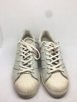 Adidas Superstars Women's Light Grey Leather Trainers Size 6 (RM02).