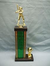 gold softball trophy wide black marble base ball trim tall green column
