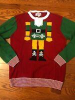 Men's Ugly Christmas Sweater size XL Nutcracker Body Green & Red Crew Neck