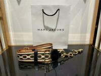 Marc Jacobs The Webbing Strap for Snapshot Black Brown-White 100% Authentic &NEW