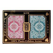 100% plastic acetate KEM ARROW Poker/Regular RED/BLUE playing cards -2 decks