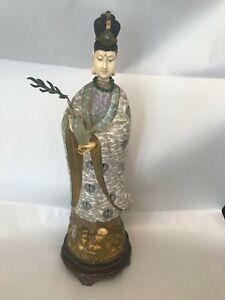 "Chinese Cloisonné Geisha Figurine Enamel 17"" Lady with Vase"