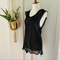 CHASER 100% Silk Sheer Black Top Small NWT Women's NEW Sleeveless