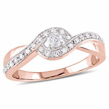 Amour Rose Plated Sterling Silver Diamond 1/4ct TDW Crossover Engagement Ring