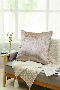 New Plain Luxury Crushed Velvet Cushion Cover With Piped Edges 45 x 45 cm Mink