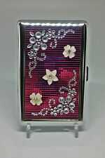 Eclipse Pink Double Sided Metal Handcrafted Stones 100s Size Cigarette Case