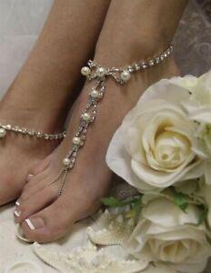 Victorian Trading Co Rhinestone Pearl Bead Barefoot Sandals Beach Wedding 28S