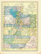 1904 Color Map of UTAH - Indian Reservations shown - Railroads Named
