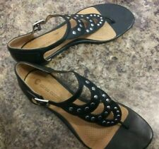 Black Leather Studded Sandals By Corso Como in a Tiered Thong Style & Bk S 7.5M