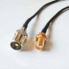 SMA Female Bulkhead to IEC DVB-T TV PAL male RG174 cable jumper pigtail 20cm