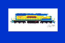 """Fort Worth & Western SD40-2 11""""x17"""" Matted Print Andy Fletcher signed"""