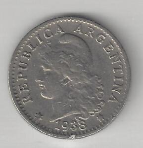 ARGENTINA,  1938,  5 CENTAVOS,  COPPER NICKEL,  KM#34,  VERY FINE-EXTRA FINE
