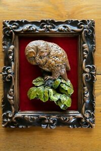 Vintage 3D Owl with Caterpillar Picture Framed Red Velvet Shadow Box Wall Art