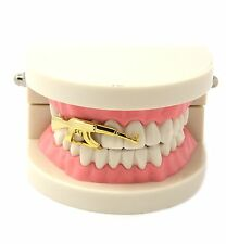 14k Gold Plated Plain Canine Cap AK 47 Gun Single Tooth Grillz Hip Hop Teeth